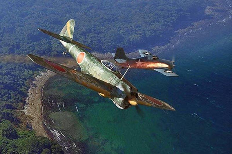 Nakajima_Ki-43_Hayabusa_OSCAR_Flaming_a_Wilkcat.jpg